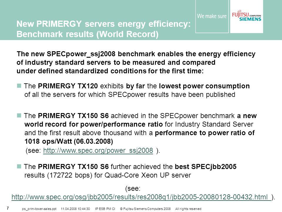 New PRIMERGY servers energy efficiency: Benchmark results (World Record)