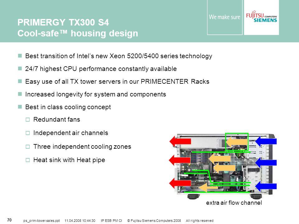 PRIMERGY TX300 S4 Cool-safe™ housing design