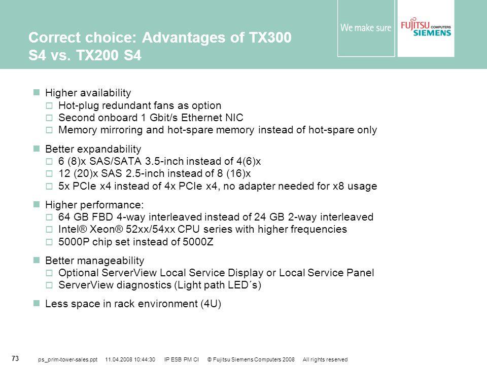 Correct choice: Advantages of TX300 S4 vs. TX200 S4
