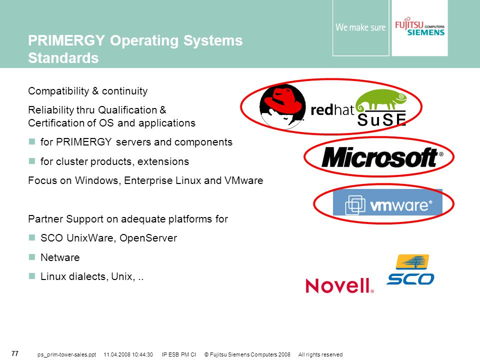 PRIMERGY Operating Systems Standards