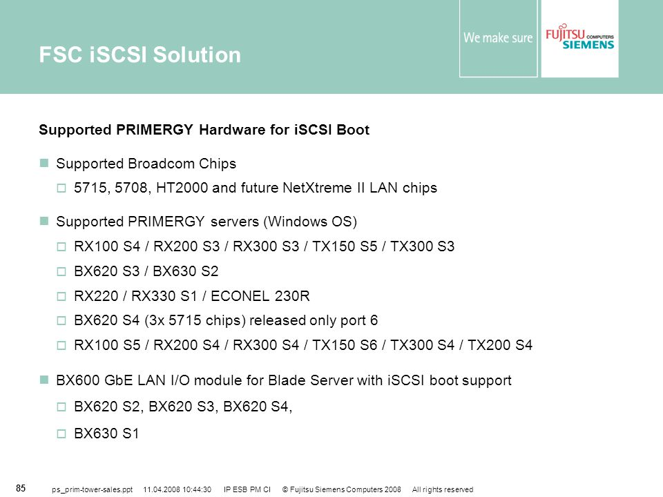 FSC iSCSI Solution Supported PRIMERGY Hardware for iSCSI Boot