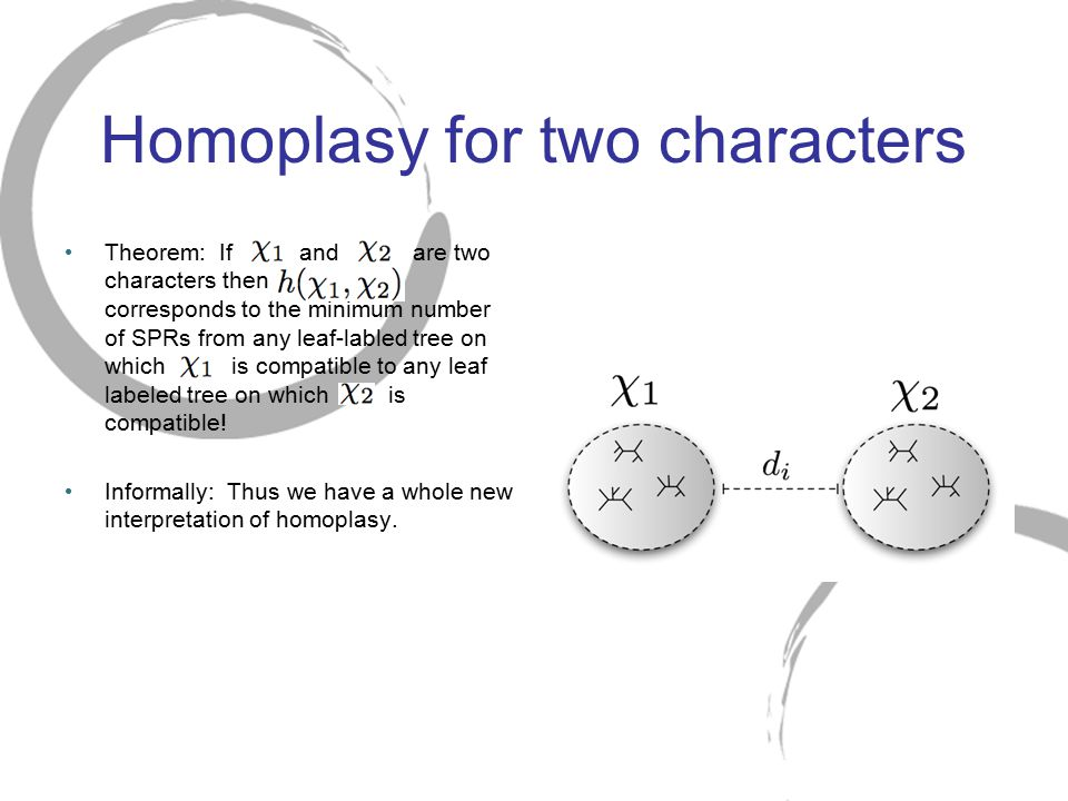 Homoplasy for two characters