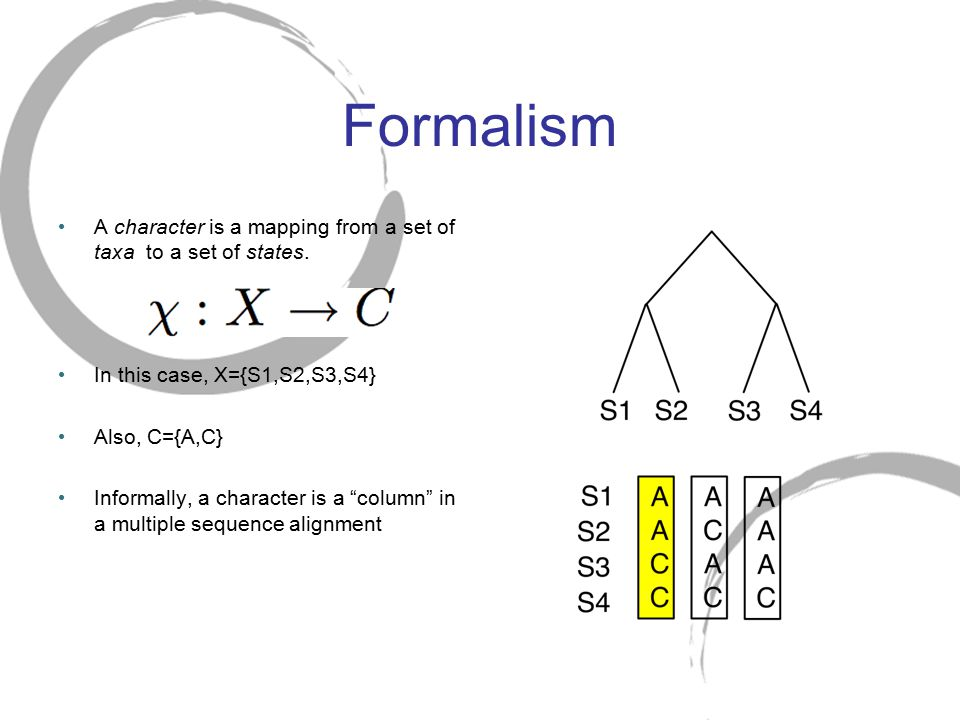 Formalism A character is a mapping from a set of taxa to a set of states. In this case, X={S1,S2,S3,S4}