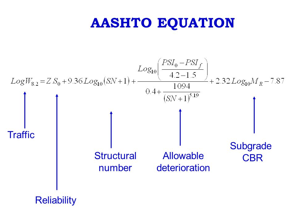 AASHTO EQUATION Traffic Subgrade CBR Structural number Allowable