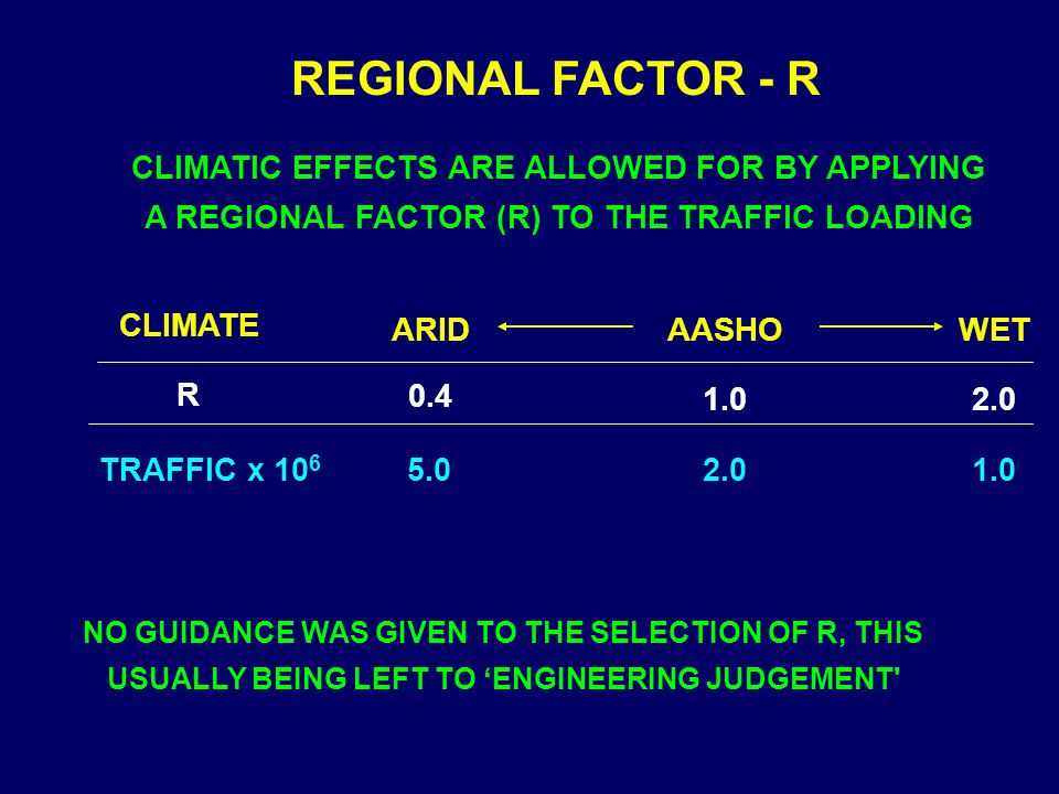 REGIONAL FACTOR - R CLIMATIC EFFECTS ARE ALLOWED FOR BY APPLYING