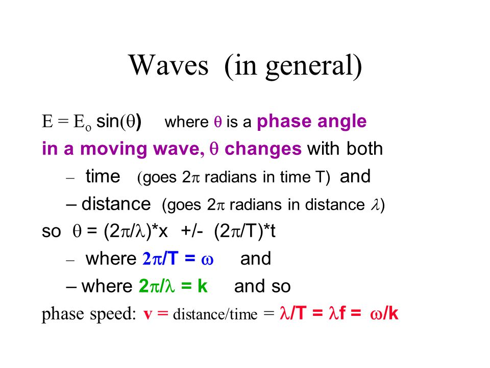 Waves (in general) E = Eo sin() where  is a phase angle