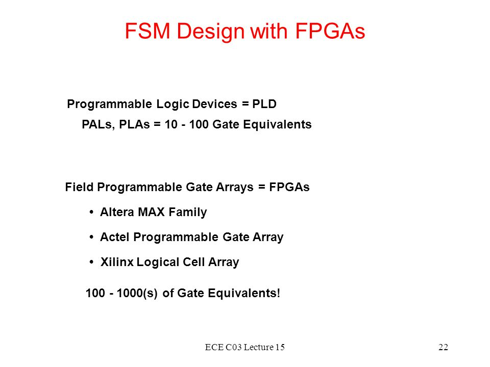 FSM Design with FPGAs Programmable Logic Devices = PLD