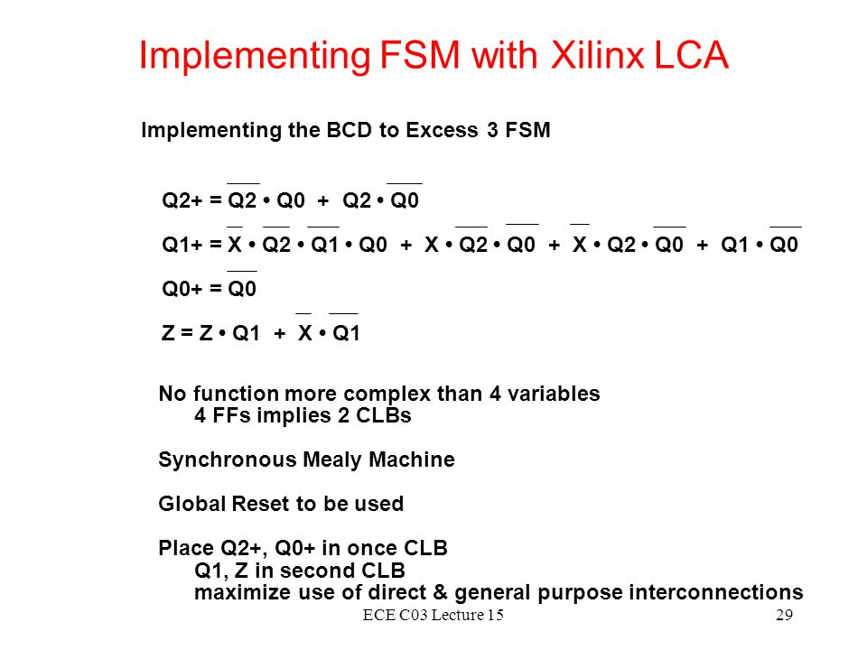 Implementing FSM with Xilinx LCA
