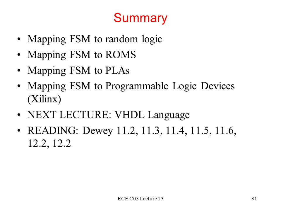 Summary Mapping FSM to random logic Mapping FSM to ROMS