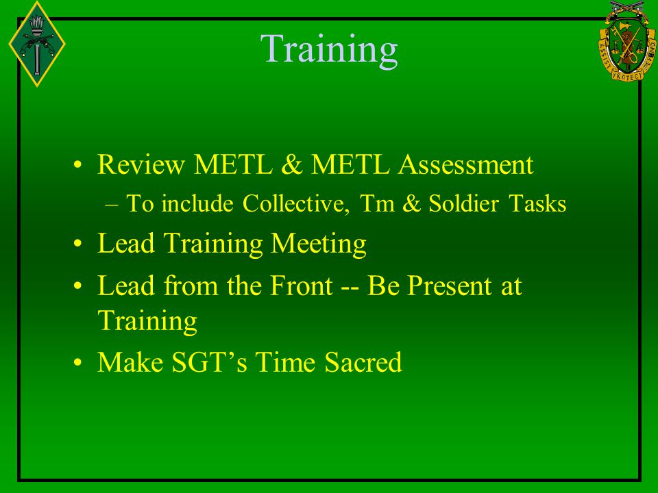 Training Review METL & METL Assessment Lead Training Meeting