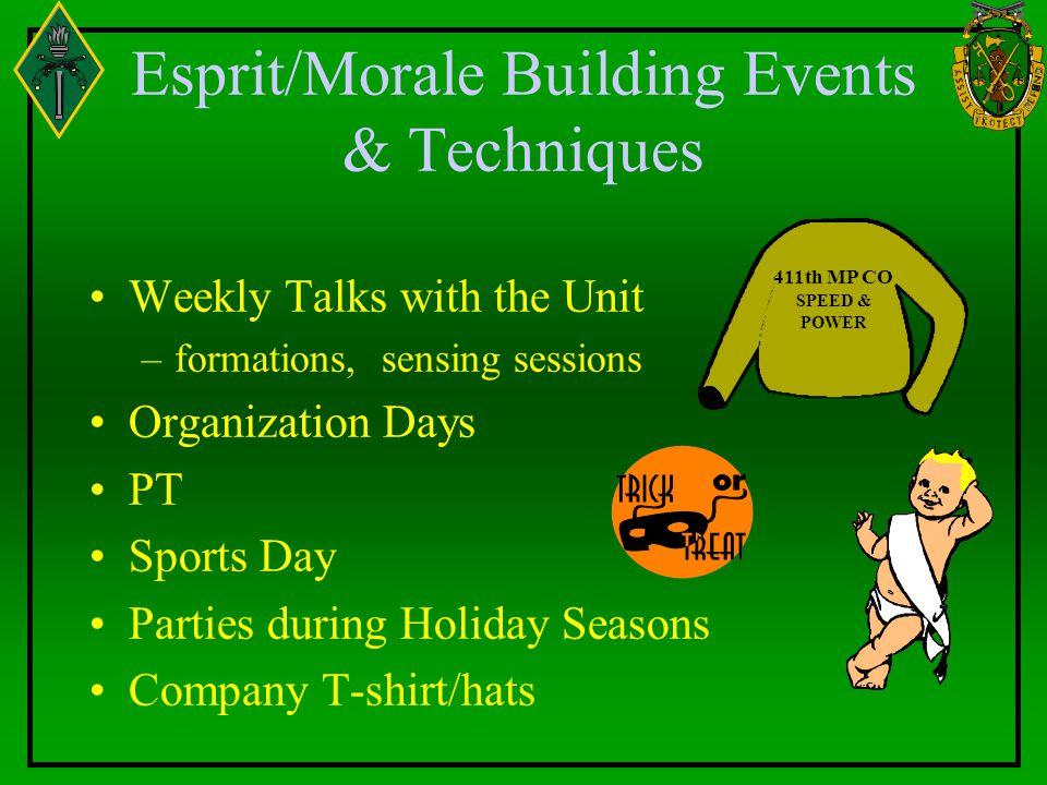 Esprit/Morale Building Events & Techniques