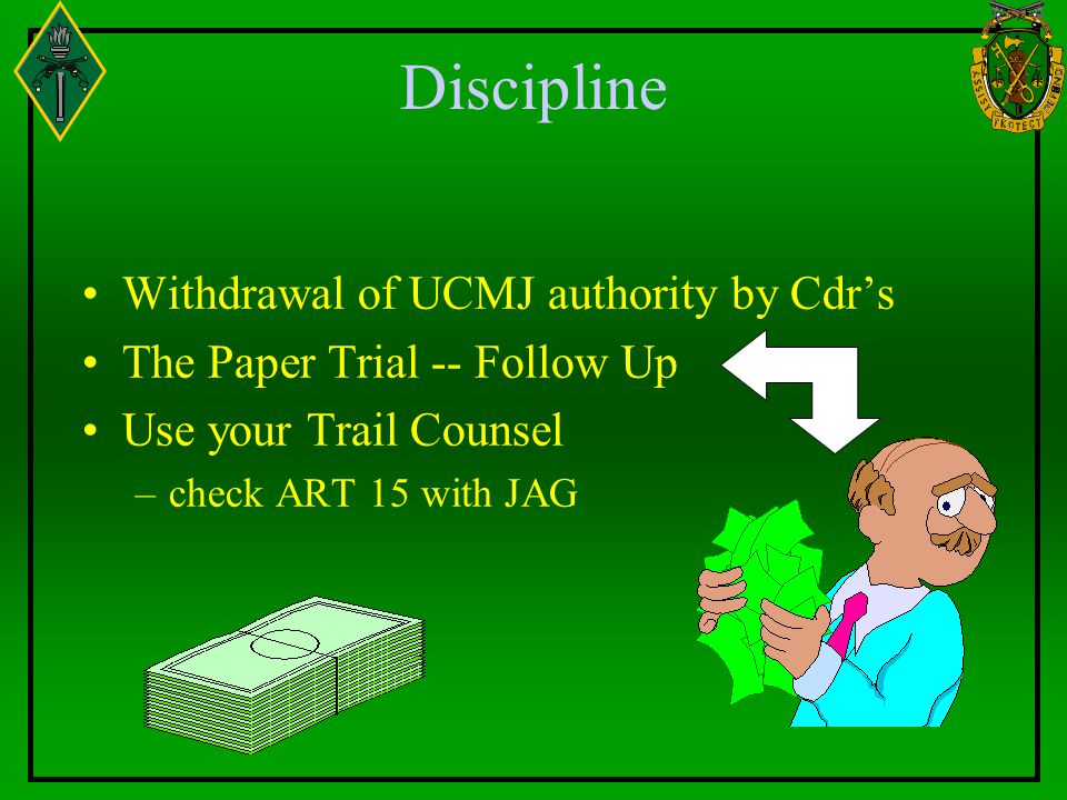 Discipline Withdrawal of UCMJ authority by Cdr's