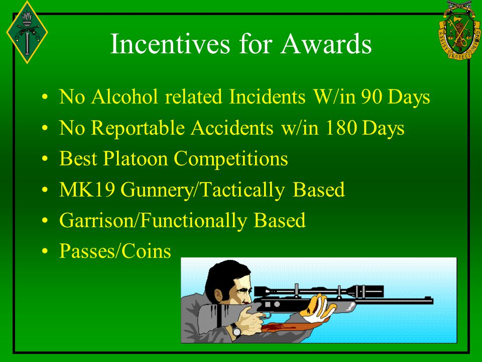 Incentives for Awards No Alcohol related Incidents W/in 90 Days