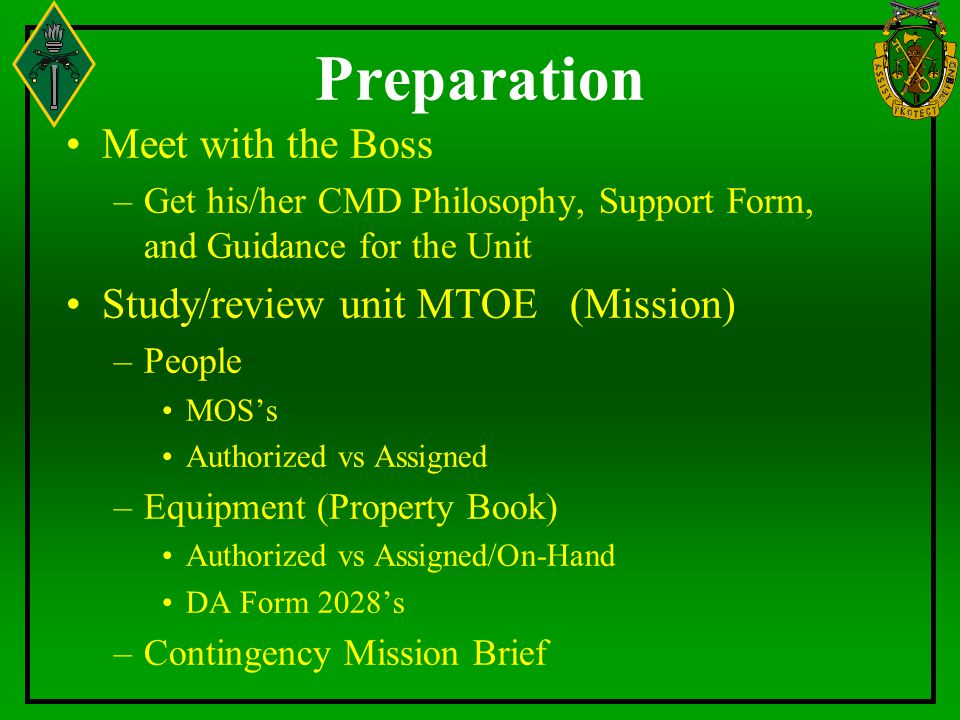 Preparation Meet with the Boss Study/review unit MTOE (Mission)