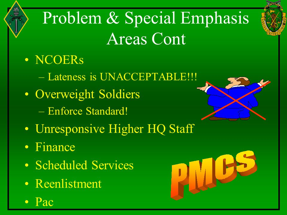 Problem & Special Emphasis Areas Cont