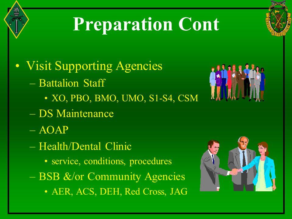 Preparation Cont Visit Supporting Agencies Battalion Staff