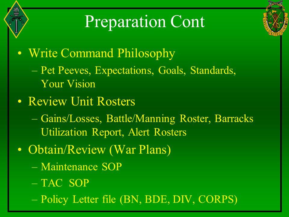 Preparation Cont Write Command Philosophy Review Unit Rosters