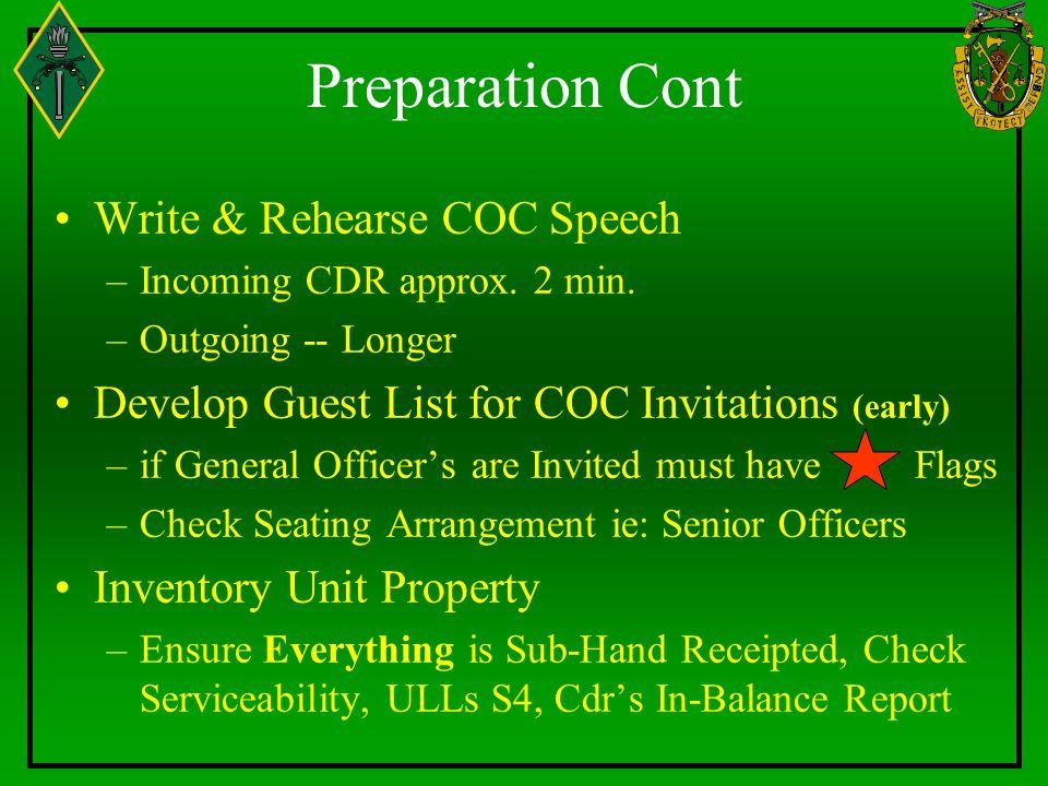 Preparation Cont Write & Rehearse COC Speech