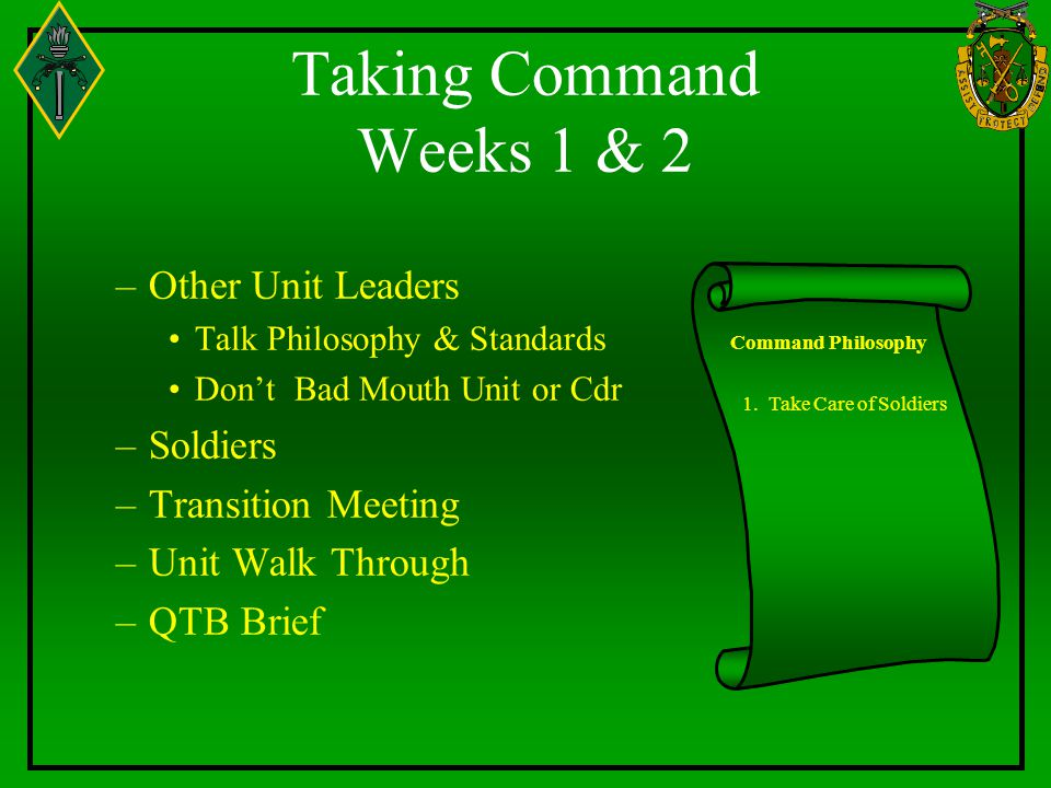 Taking Command Weeks 1 & 2 Other Unit Leaders Soldiers