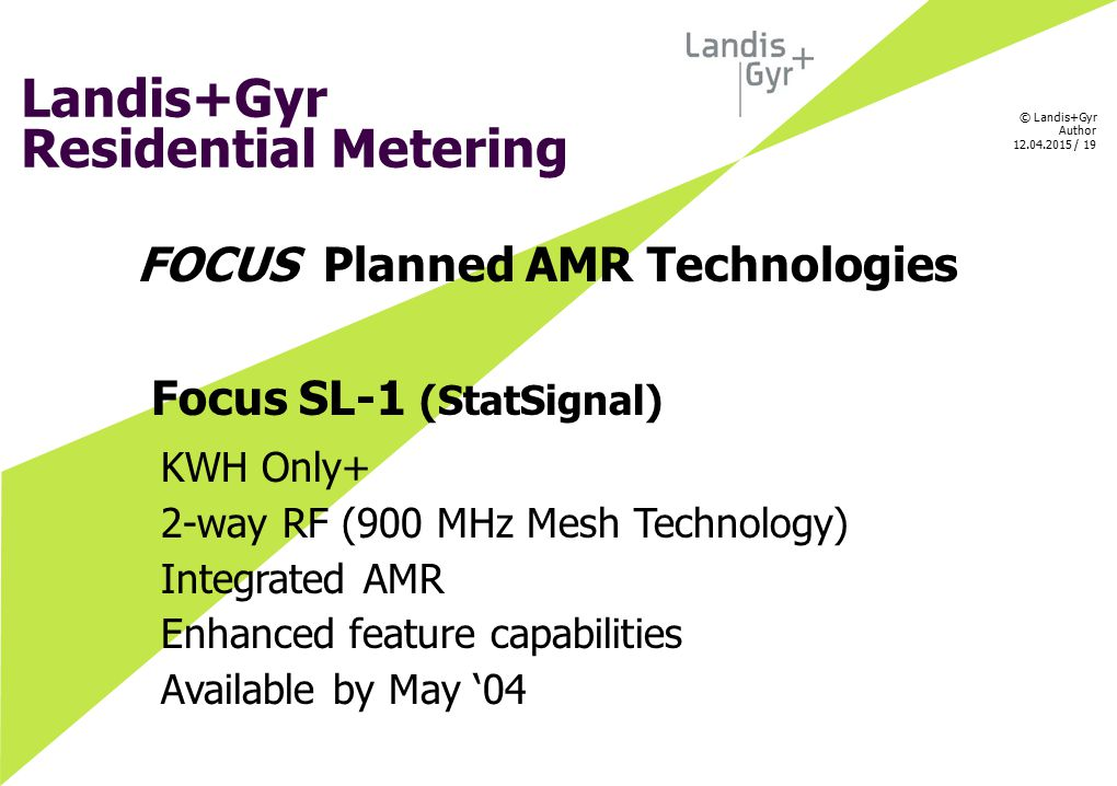 FOCUS Planned AMR Technologies