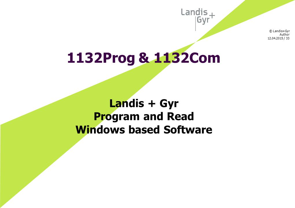 Landis + Gyr Program and Read Windows based Software