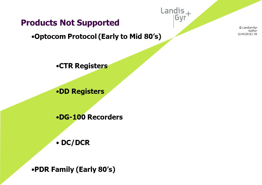 Products Not Supported