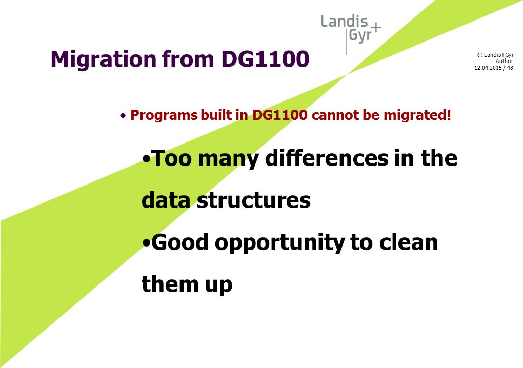 Programs built in DG1100 cannot be migrated!