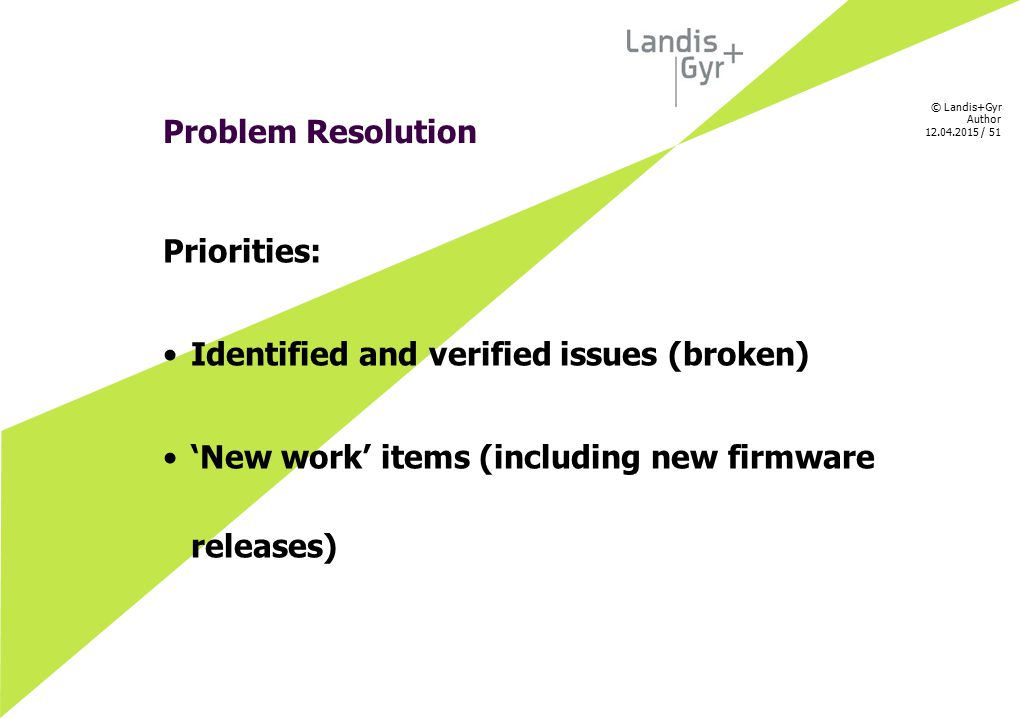 Problem Resolution Priorities: Identified and verified issues (broken) 'New work' items (including new firmware releases)