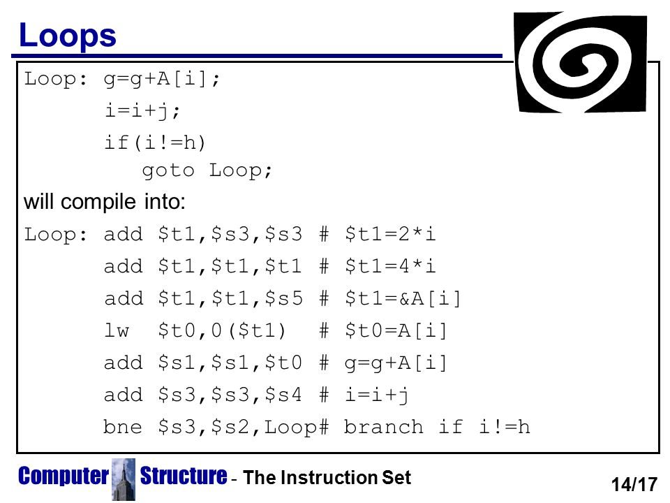 Loops Loop: g=g+A[i]; i=i+j; if(i!=h) goto Loop; will compile into: