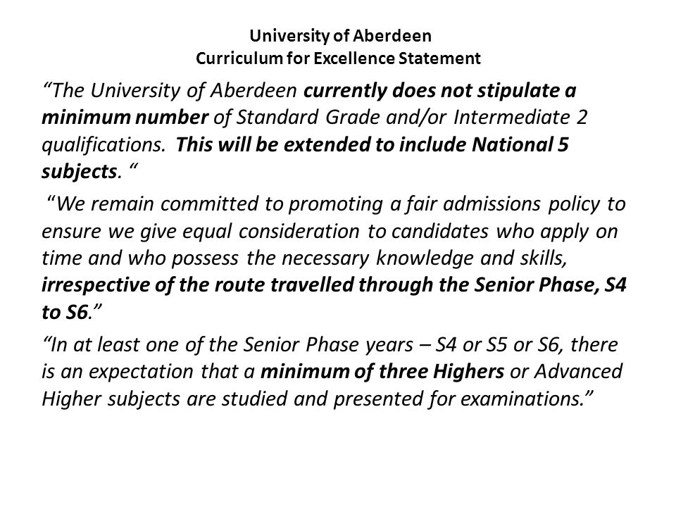 University of Aberdeen Curriculum for Excellence Statement