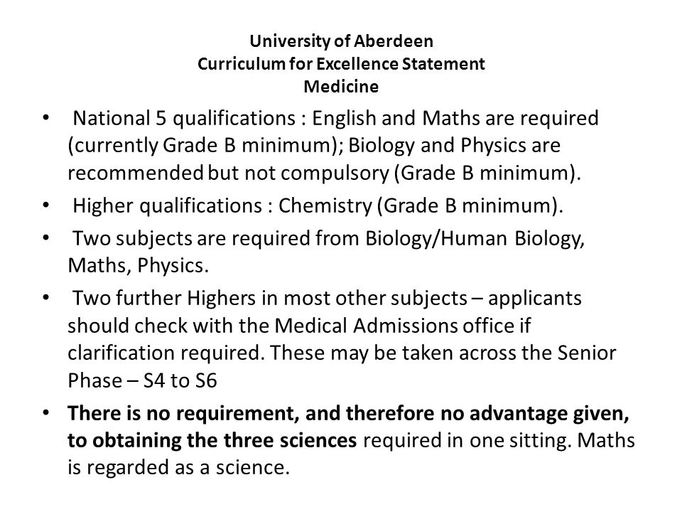 University of Aberdeen Curriculum for Excellence Statement Medicine
