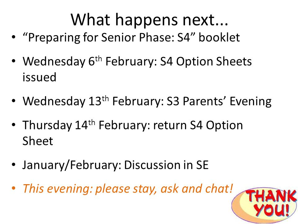 What happens next... Preparing for Senior Phase: S4 booklet