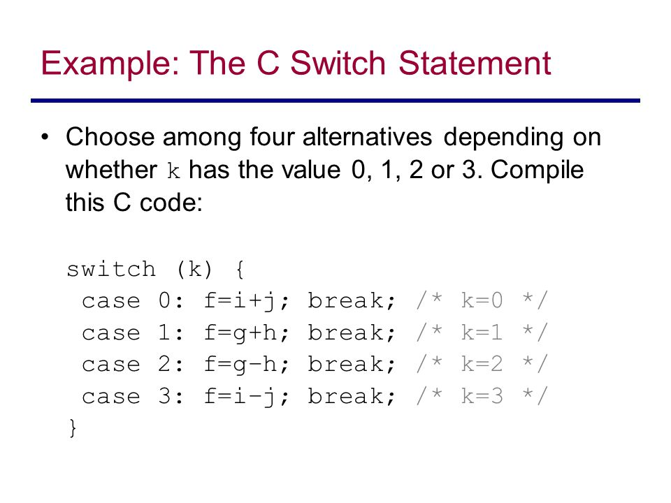 Example: The C Switch Statement