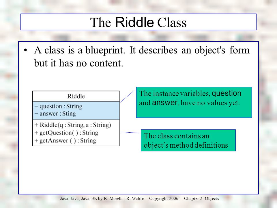 The Riddle Class A class is a blueprint. It describes an object s form but it has no content.