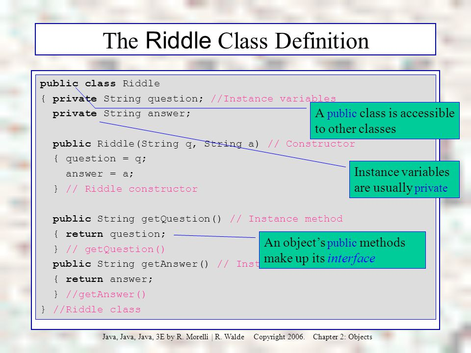 The Riddle Class Definition