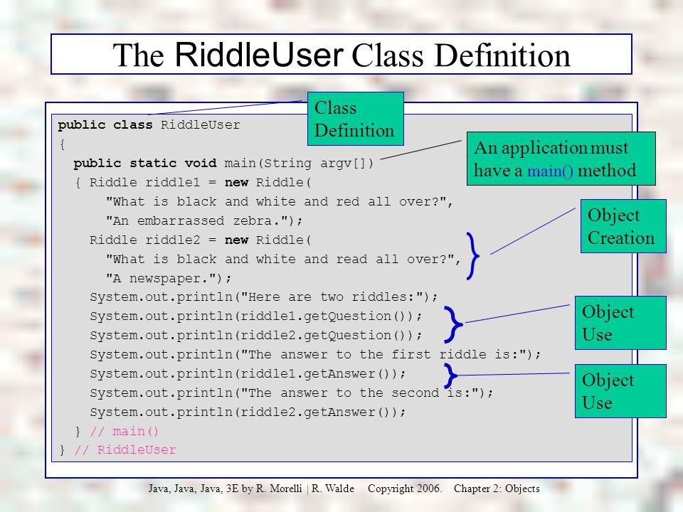 The RiddleUser Class Definition