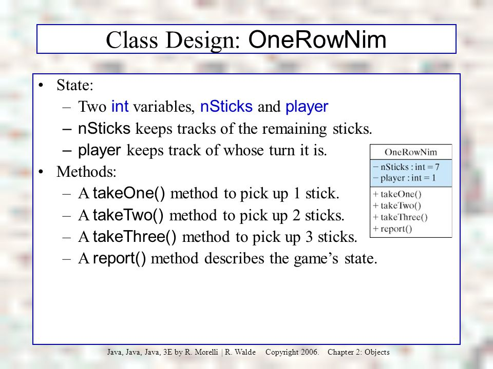 Class Design: OneRowNim