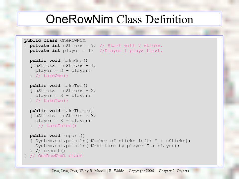 OneRowNim Class Definition