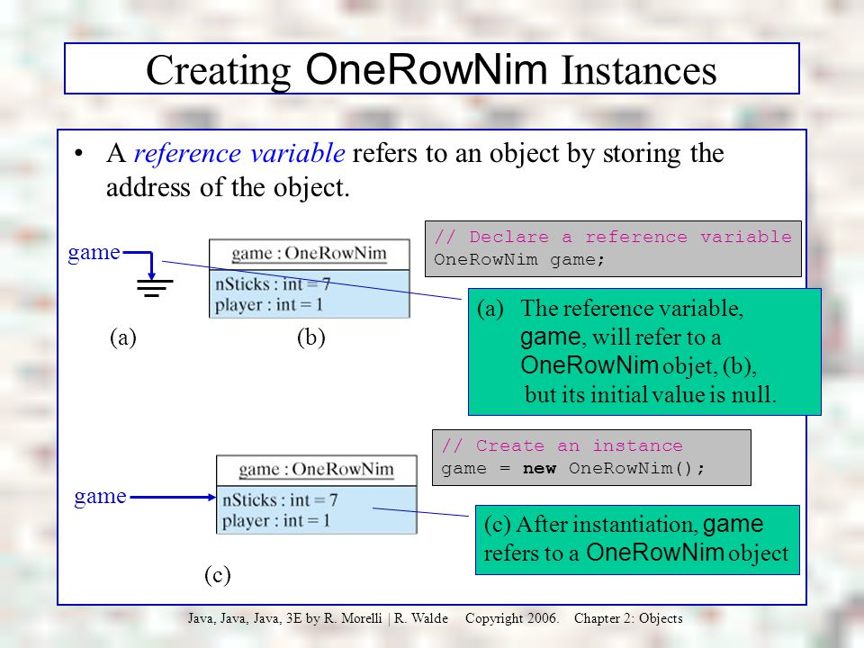 Creating OneRowNim Instances