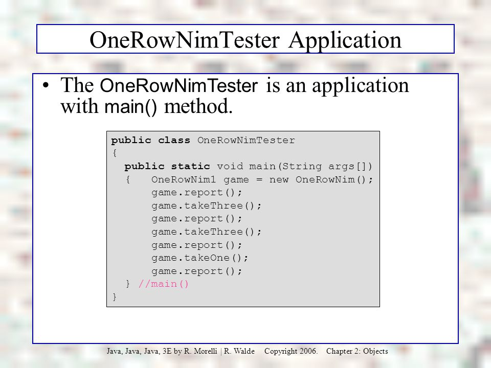 OneRowNimTester Application