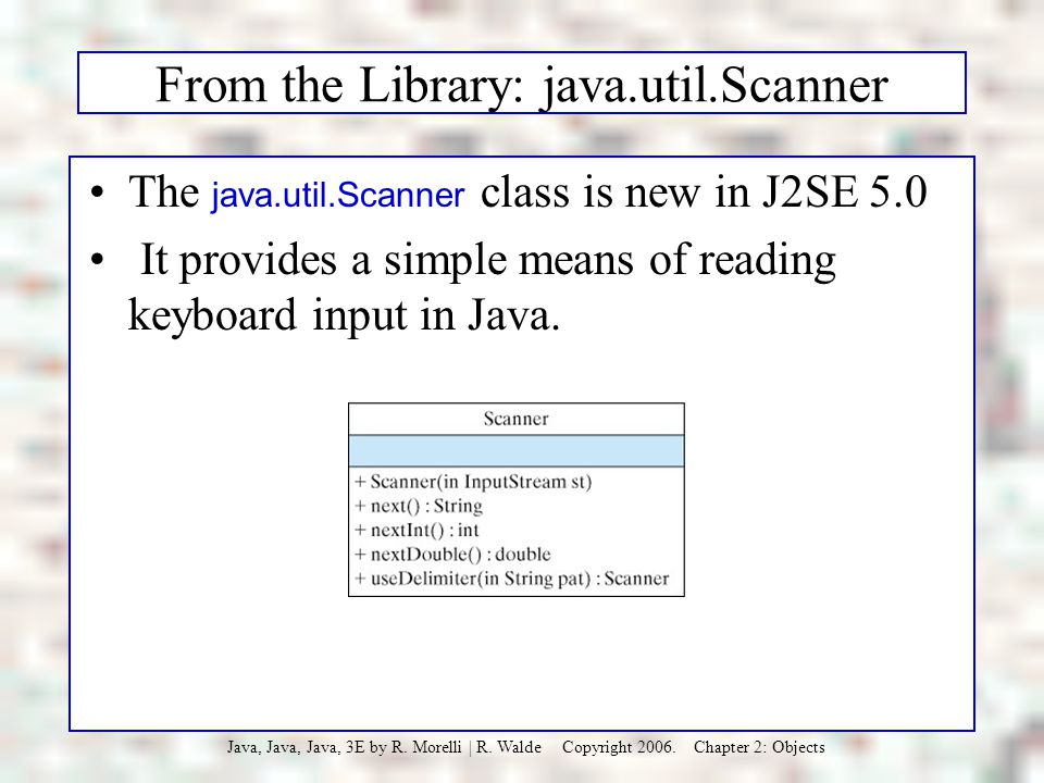 From the Library: java.util.Scanner