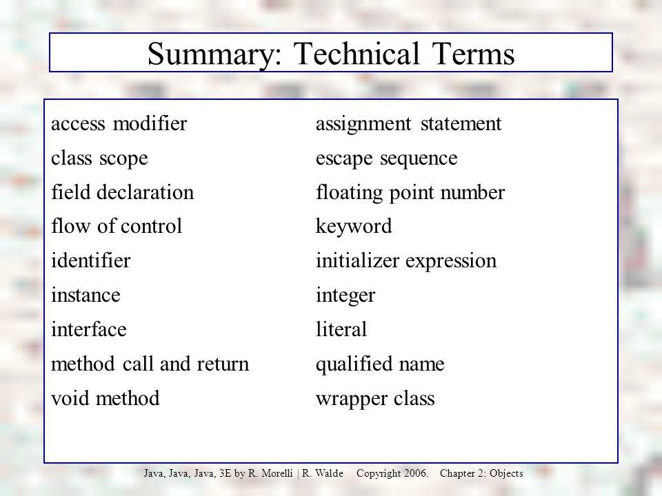 Summary: Technical Terms