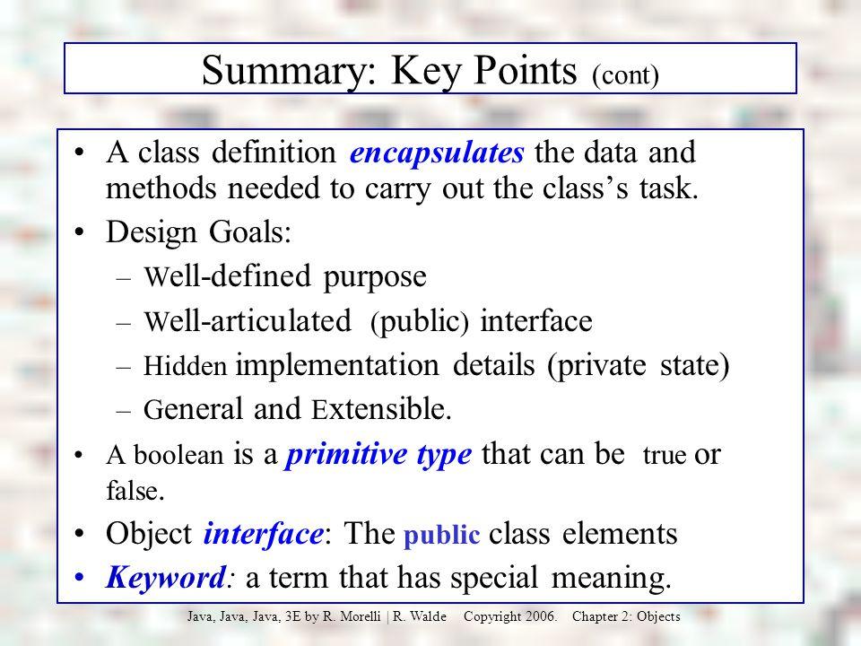 Summary: Key Points (cont)