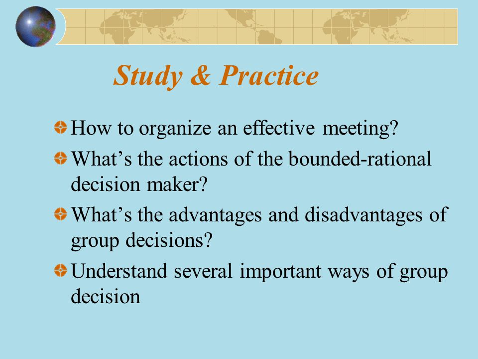 Study & Practice How to organize an effective meeting