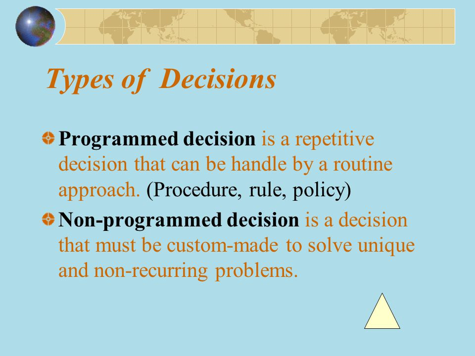 Types of Decisions Programmed decision is a repetitive decision that can be handle by a routine approach. (Procedure, rule, policy)