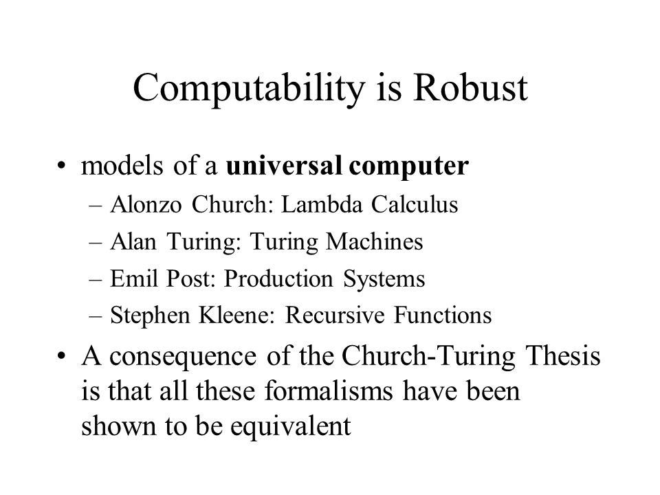 Computability is Robust