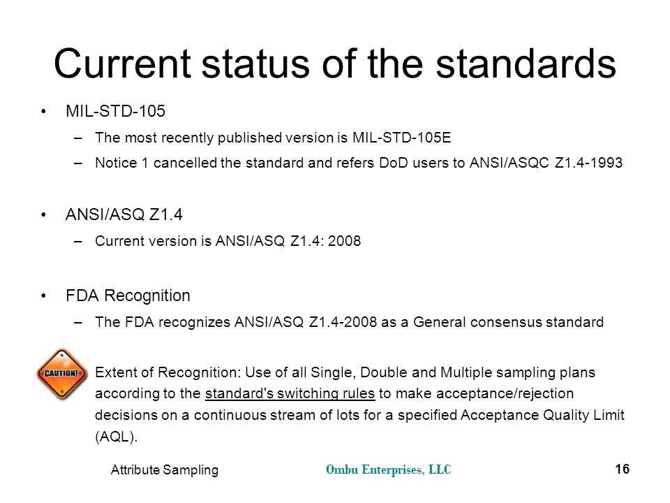 Current status of the standards