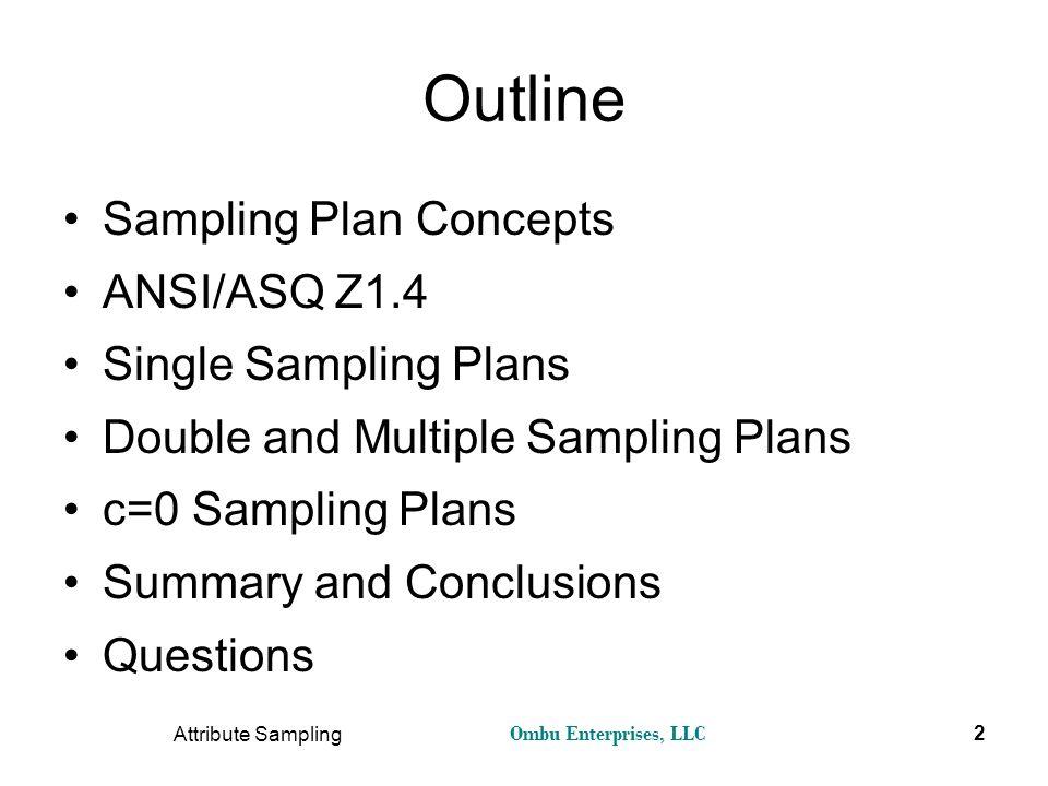 Outline Sampling Plan Concepts ANSI/ASQ Z1.4 Single Sampling Plans