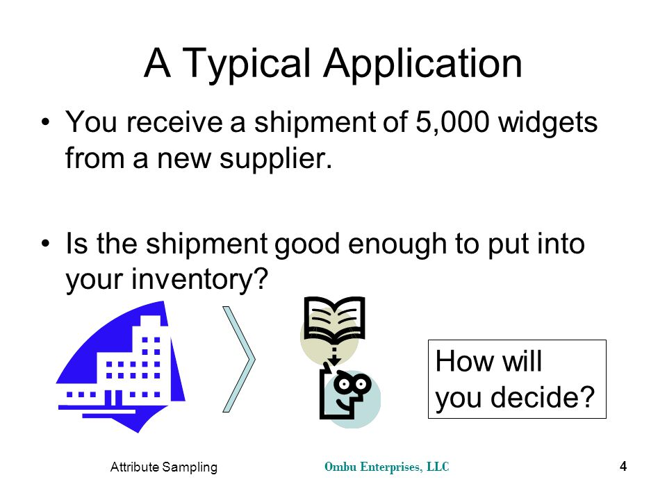 A Typical Application You receive a shipment of 5,000 widgets from a new supplier. Is the shipment good enough to put into your inventory