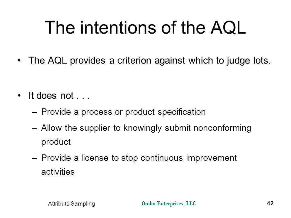 The intentions of the AQL